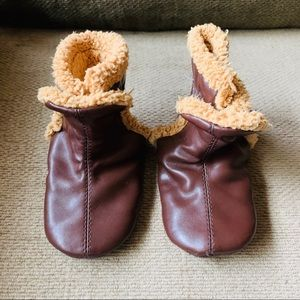 Toddler Booties Faux Leather and Shearling